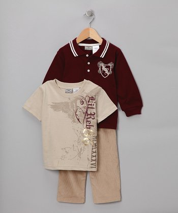 Maroon & Khaki Polo Set - Infant, Toddler & Boys