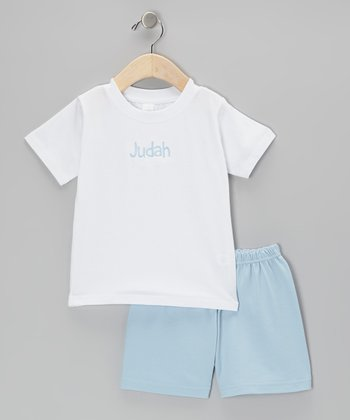 White Personalized Tee & Blue Shorts - Infant, Toddler & Boys