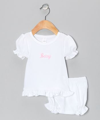 White Personalized Ruffle Tee & Bloomers - Infant