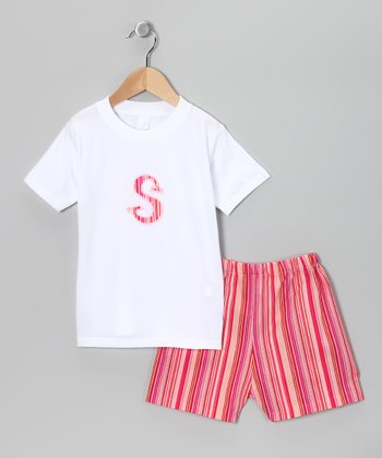 Lollypop Kids Pink Stripe Initial Tee & Shorts - Infant & Toddler