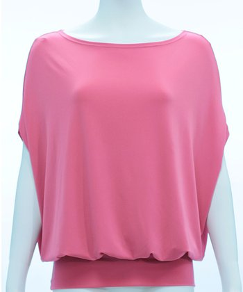 Pink Kiara Cape-Sleeve Top - Women