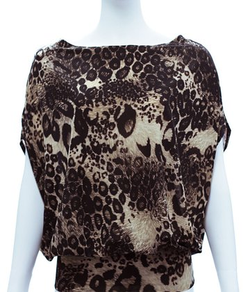 Chocolate & Black Leopard Kiara Cape-Sleeve Top - Women