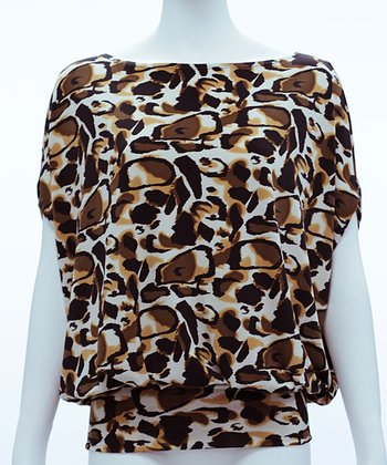 Black & Tan Abstract Leopard Kiara Cape-Sleeve Top - Women