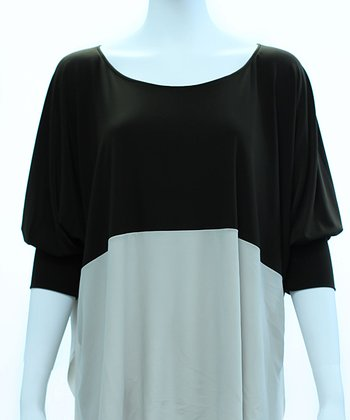 Black & Dulce de Leche Color Block Dolman Top - Women