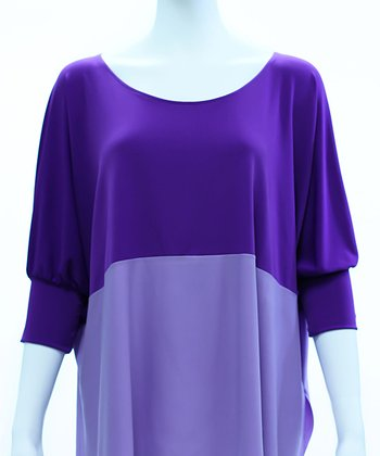 Purple & Lilac Color Block Dolman Top - Women