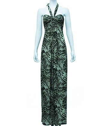Olive Tigress Halter Maxi Dress - Women