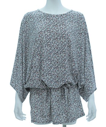 White & Wine Polka Dot Tie-Waist Dolman Tunic - Women