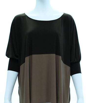 Cocoa & Tan Color Block Dolman Top - Women