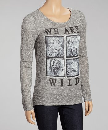 Gray 'We Are Wild' Long-Sleeve Sweater
