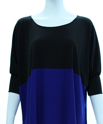 Black & Cobalt Color Block Dolman Top - Women