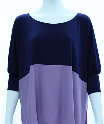 Navy & Lilac Color Block Dolman Top - Women