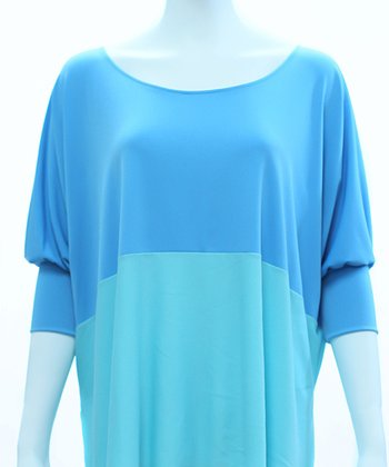 Baby Blue & Sky Blue Color Block Dolman Top - Women