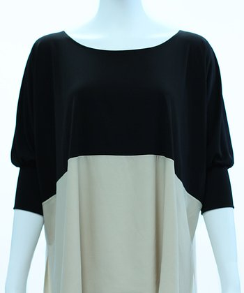 Black & Almond Color Block Dolman Top - Women