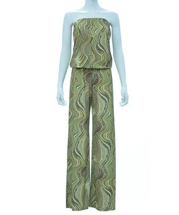 Lime Swirl Strapless Jumpsuit - Women