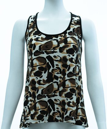 Black & Tan Leopard Tank Top - Women