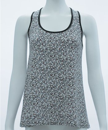 White & Wine Polka Dot Tank Top - Women