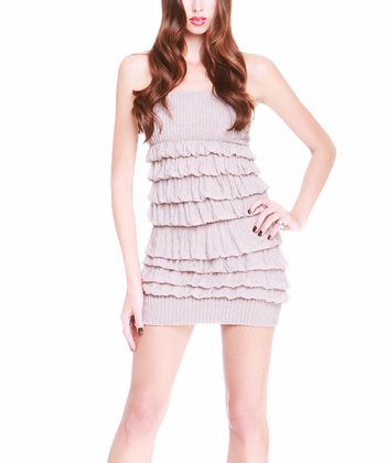 Taupe Ruffle Strapless Dress - Women