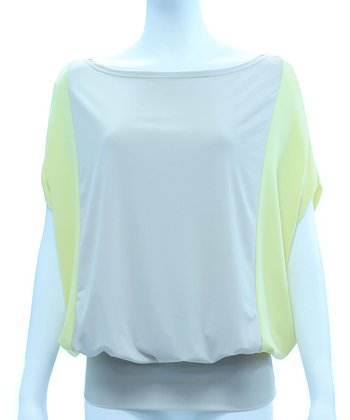 Nude & Lemon Color Block Kenya Cape-Sleeve Top - Women