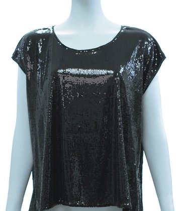 Black Sequin Disco Cap-Sleeve Top - Women