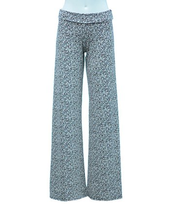 White & Wine Polka Dot Palazzo Pants - Women