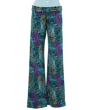Teal & Purple Psychedelic Palazzo Pants - Women