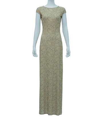 Green & Tan Paisley Rita Cap-Sleeve Maxi Dress - Women