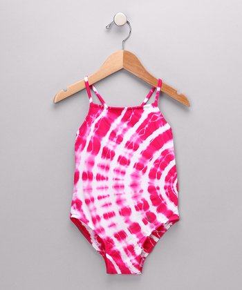 Magenta Tie-Dye One-Piece - Girls