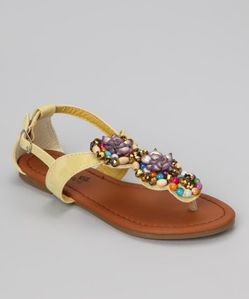 Yellow Embellished Beach 45 Sandal
