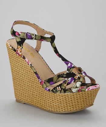 Black Floral Mia-2 Wedge Sandal