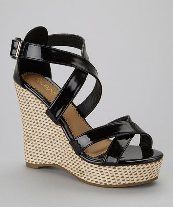 Black Mix-2 Wedge Sandal