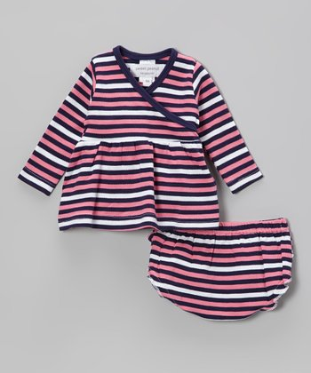 Pink & Navy Stripe Organic Surplice Dress & Ruffle Diaper Cover