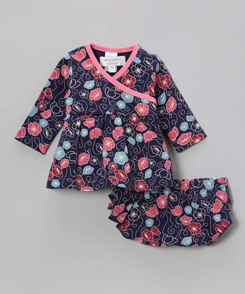 Navy Flower Dance Organic Surplice Dress & Ruffle Diaper Cover