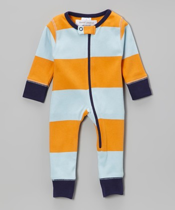 Orange & Soft Blue Boogie Woogie Organic Playsuit