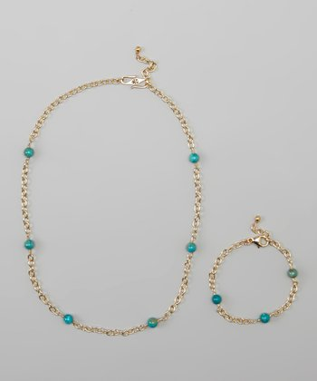 Bronze Turquoise Bead Necklace & Bracelet Set