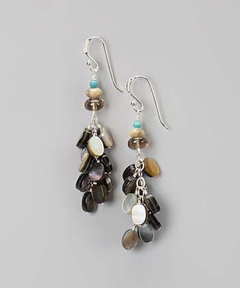 Black Mother-of-Pearl & Silver Drop Earrings