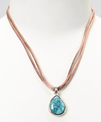 Silver Turquoise Teardrop Silk Cord Necklace
