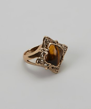 Bronze Red Tiger's Eye Ring