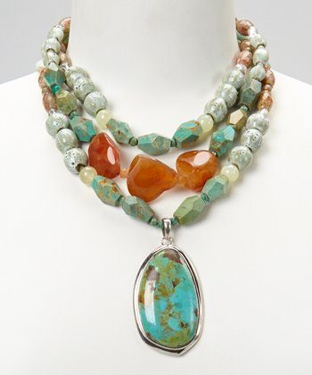 Silver Turquoise & Carnelian Beaded Pendant Necklace