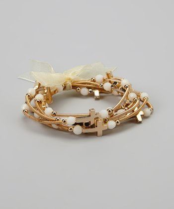 Gold & White Stretch Cross Bracelet