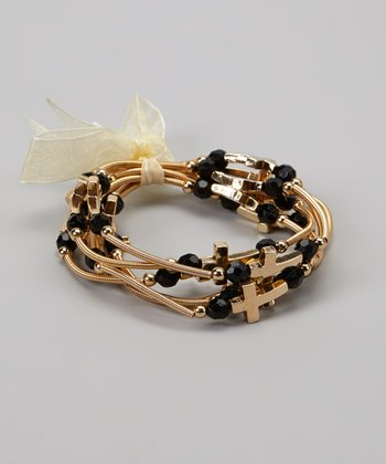 Gold & Black Stretch Cross Bracelet