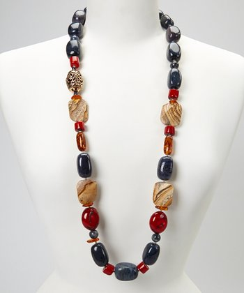 Silver Red & Blue Stone Statement Necklace