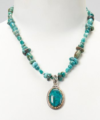 Silver Turquoise Beaded Pendant Necklace