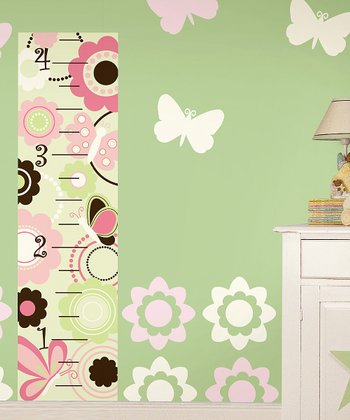 Butterfly & Flower Nursery Wall Decals & Growth Chart