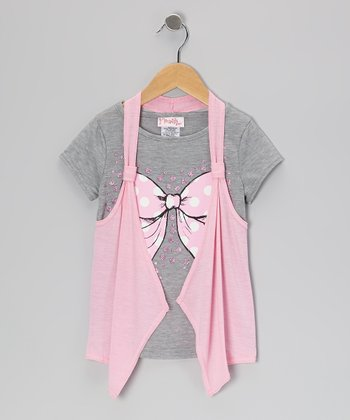 Heather Gray & Strawberry Cream Flyaway Top - Toddler & Girls