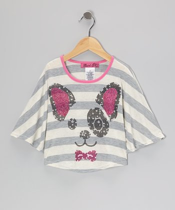 Pink & Silver Puppy Face Poncho - Toddler & Girls