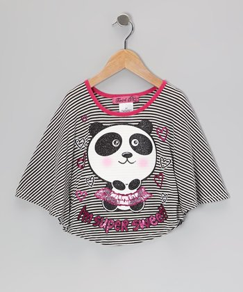 Black & Fuchsia Panda Poncho - Toddler & Girls