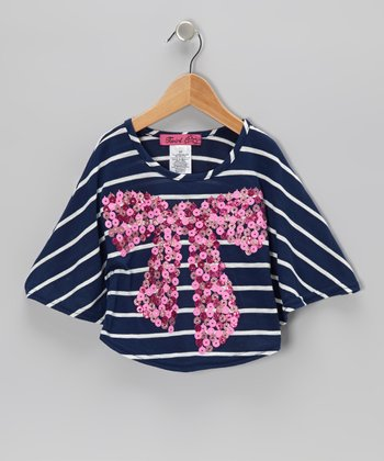Navy & Fuchsia Big Bow Poncho - Toddler & Girls