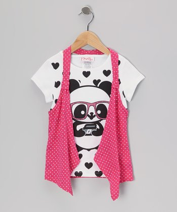 White & Cerise Polka Dot Panda Flyaway Top - Toddler