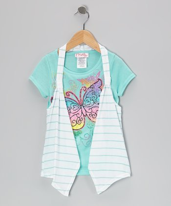 Mint & White Stripe Butterfly Flyaway Top - Toddler