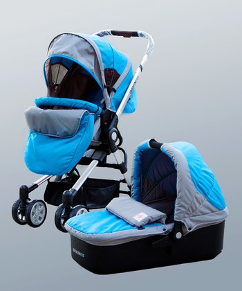 Blue Two-in-One Bassinet Stroller